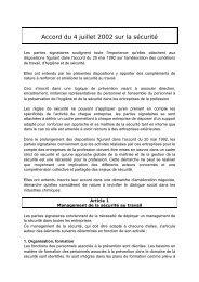 Accord du 4 juillet 2002 sur la sécurité au travail - Vie publique