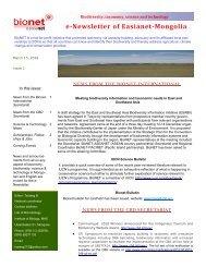 e-Newsletter of Easianet-Mongolia - BioNET