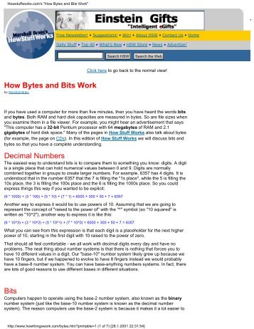 "Howstuffworks.com's ""How Bytes and Bits Work"""