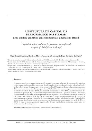 A ESTRUTURA DE CAPITAL E A PERFORMANCE DAS ... - PUCPR