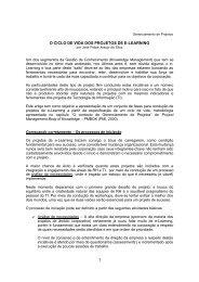1 O CICLO DE VIDA DOS PROJETOS DE E-LEARNING