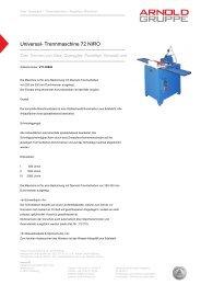 Universal- Trennmaschine 72 NIRO - Arnold Gruppe