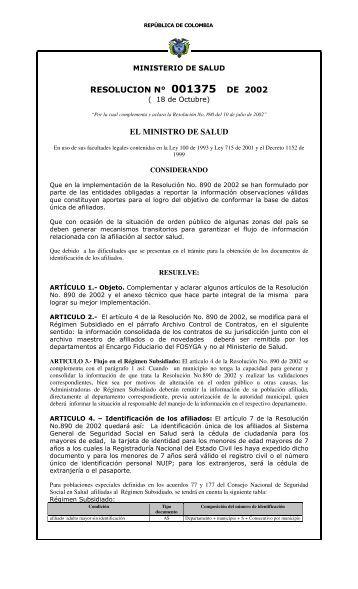 resolucion n° 001375 de 2002 el ministro de salud - Departamento ...