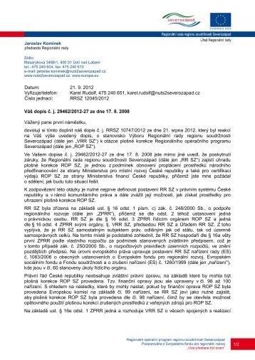 Váš dopis č. j. 29462/2012-27 ze dne 17. 8. 2008 Vážený pane první ...