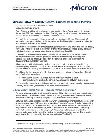 Micron Software Quality Control Guided by Testing Metrics