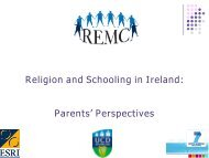Religion and Schooling in Ireland: Parents' Perspectives - ESRI