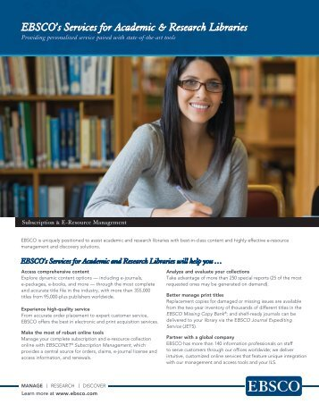 Download fact sheet (PDF) - EBSCO Information Services