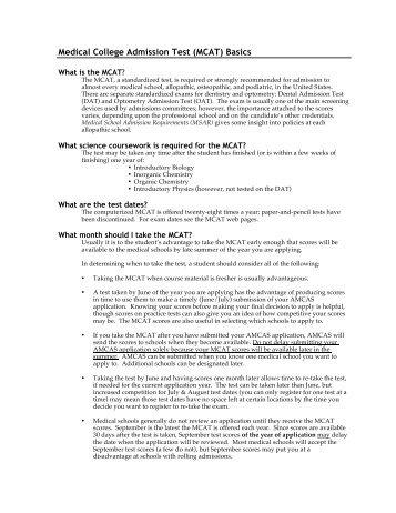 Medical College Admission Test (MCAT) Basics - Cornell Career ...