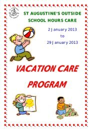 VACATION CARE PROGRAM - St Augustine's
