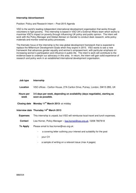 Internship Advertisement Position Policy And Research