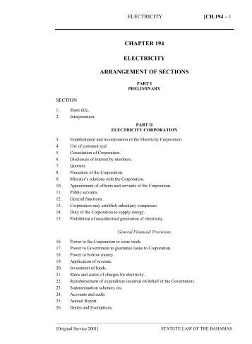 Electricity Act - The Bahamas Laws On-Line - The Government of ...