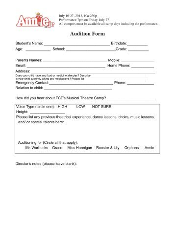 Fauquier Community Theatre Audition Form Fiddler On The Roof