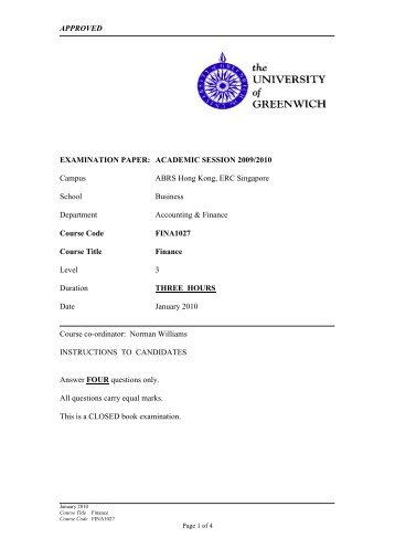 APPROVED EXAMINATION PAPER: ACADEMIC SESSION ... - ABRS