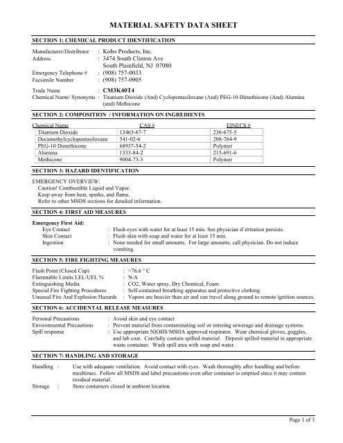 Material Safety Data Sheet Kobo Products Inc