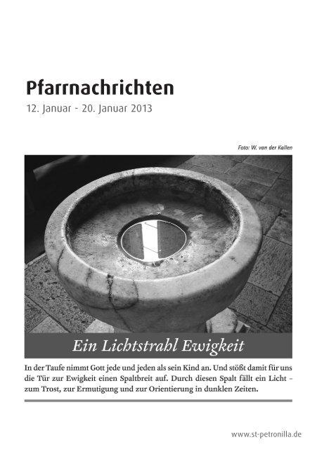 Pfarrnachrichten vom 12. bis 20. Januar 2013 - St. Petronilla