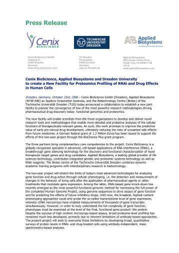 Press Release - Cenix BioScience GmbH.