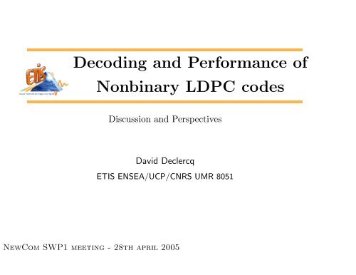 Decoding and Performance of Nonbinary LDPC codes