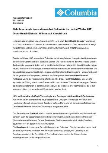 Bahnbrechende Innovationen bei Columbia im Herbst/Winter 2011 ...