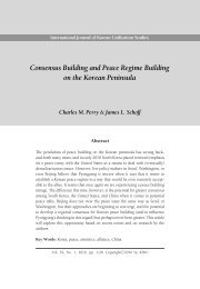 Consensus Building and Peace Regime Building on the Korean ...