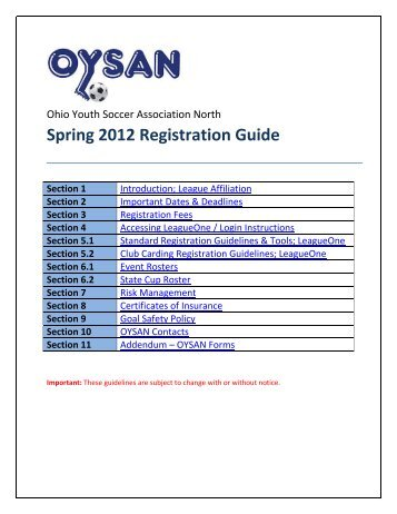 Spring 2012 Registration Guide - Ohio Youth Soccer Association North