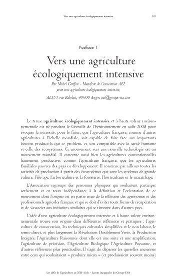 Vers une agriculture écologiquement intensive, de Michel ... - Vintage