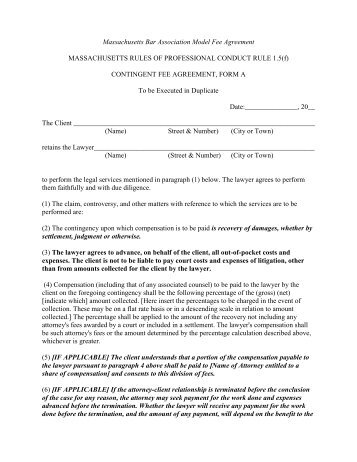 Contingency Fee Agreement and Retainer Agreement - State Bar of ...