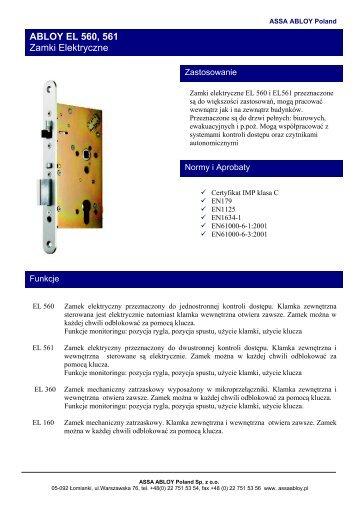 ABLOY zamki elektryczne EL560,561