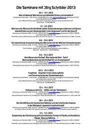 Die Seminare mit Jörg Schröder 2013 - ARC Studio