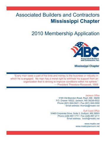 Associated Builders and Contractors Mississippi ... - Msabc.net