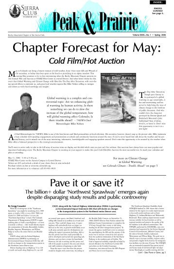 April/May/June 2006 (pdf) - Sierra Club Rocky Mountain Chapter