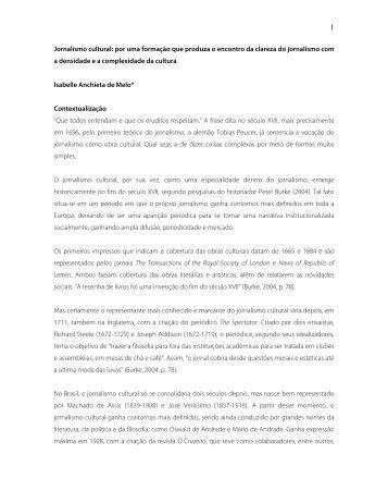 Jornalismo cultural: por uma formação que produza o - Itaú Cultural