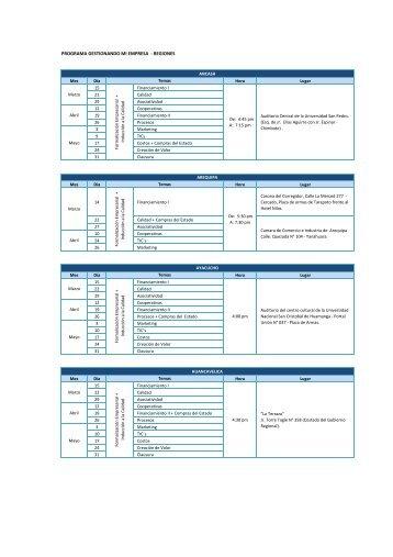 programa gestionando mi empresa - regiones - CRECEmype