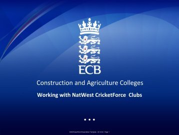 Presentation to Construction College - Ecb