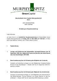 Einladung und Tagesordnung der ... - GreenCapital