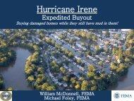 Hurricane Irene Expedited Buyout - Flood Risk Management Program