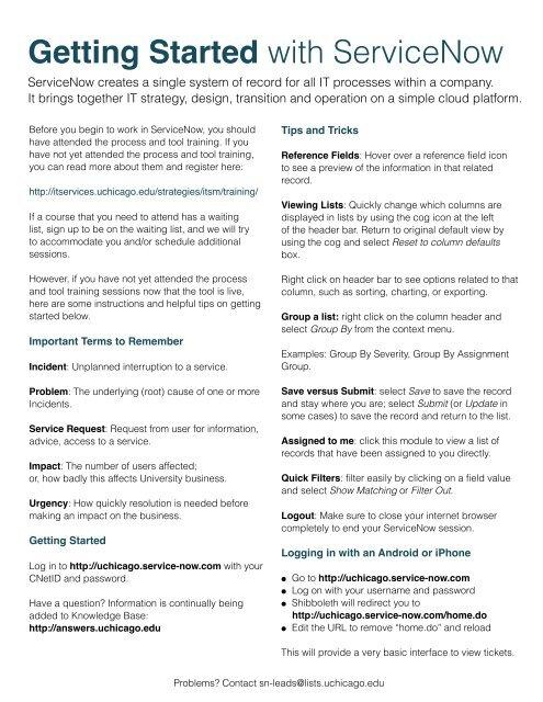 ServiceNow Tips & Tricks (pdf) - IT Services