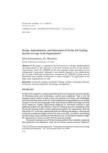 Design, Implementation, and Deployment of On-the-Job Training ...