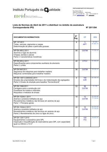 normas editadas em abril - IPQ