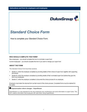 Choice Of Superannuation Fund Standard Choice Form Information