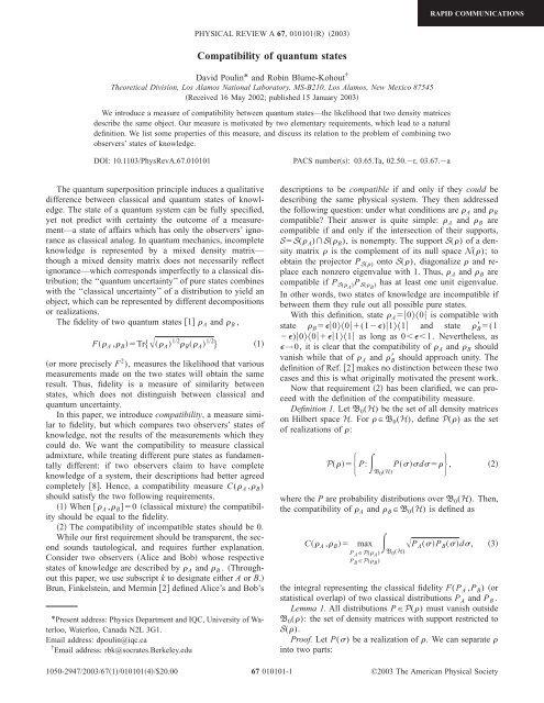 Compatibility of quantum states - EPIQ