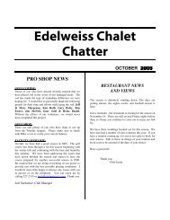 Edelweiss Chalet Chatter - Edelweiss Chalet Country Club