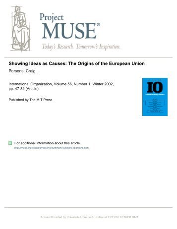 Showing Ideas as Causes: The Origins of the European Union