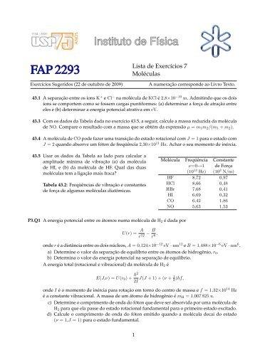 Lista de Exercıcios 7 Moléculas - Plato