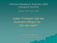 Urban Transport and the Australian Mega-City – Can we cope?
