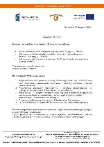 Świdwińscy Romowie na rynku pracy – zapytanie ofertowe