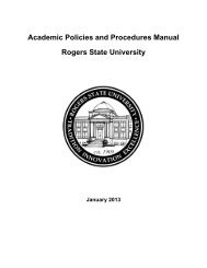 Academic Policies and Procedures Manual Rogers State University
