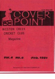 vol. a NO. a pea. 1981 - Weston Creek Cricket Club