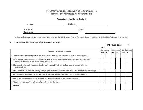 preceptor evaluation form nursing  Preceptor Evaluation Feedback Forms - School of Nursing