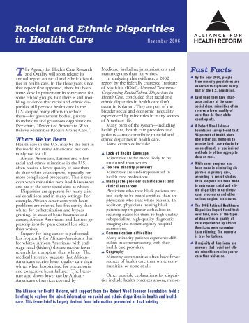 Racial and Ethnic Disparities in Health Care