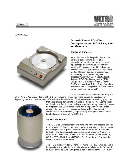 English review of Acoustic Revive RD-3 Disc - Avin Ava Web Site